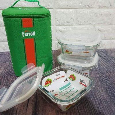 Sét 3 hôp thủy tinh 500ml có túi giữ nhiệt Ferroli